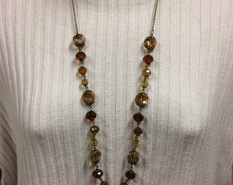 Beaded necklace, Glass bead jewelry, statement necklace, amber bead necklace, long necklace