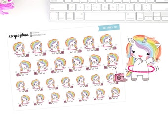 Rae Works Out | Rae the Unicorn | 26 Exercise Planner Stickers
