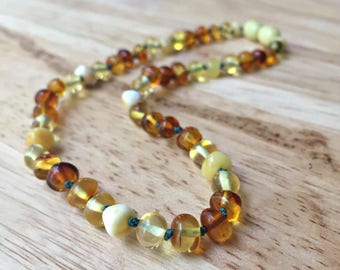 """12"""" Baltic Amber Teething Necklace - Amber necklace, baltic teething necklace, amber baby necklace, amber rainbow, amber gradient, new baby"""