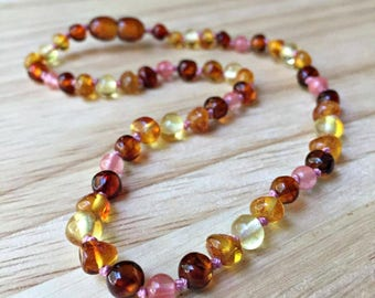 Children's Baltic Amber Necklace - Girly amber necklace, pink amber, girls Baltic amber, girls amber necklace, women's amber necklace