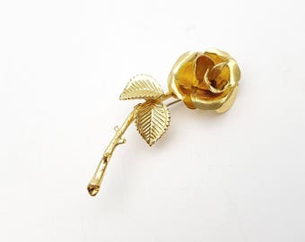 Gold tone Metal Rose Brooch Vintage Pin Flower Thorn Spine Prickle English Garden Leaves Wedding Boutonniere Boutineer