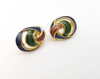 Vintage Oval Pierced Earrings Colorful Enamel on Gold Tone Metal Stud Geometric Modernist Mod Retro Classic Feminine Statement