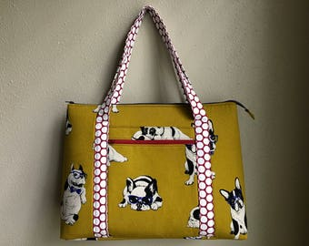Boston Terrier cotton linen travel bag handbag take off tote with top and side zips, ext. & int. pockets, suitcase sleeve for easy carry