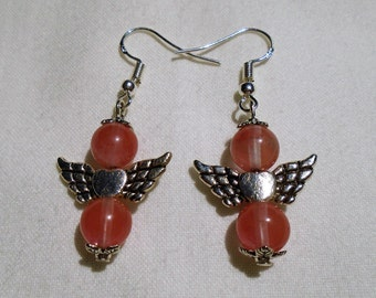 Winged Heart Pink Beaded Earrings
