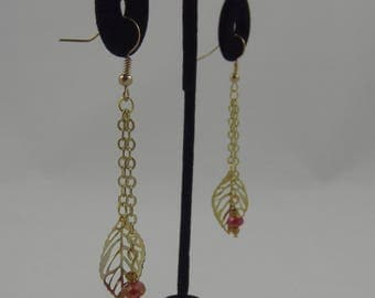 Gold Leaf Earrings with Red Accents