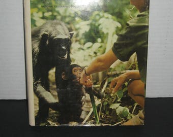 My Friends the Wild Chimpanzees Baroness Jane Van Lawick-Goodall Jane Goodall. Monkeys Chimps Primates animal book. Hardcover dust jacket