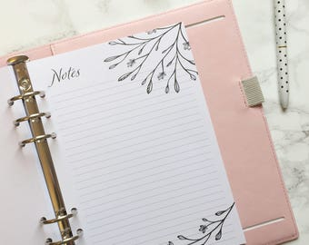 Floral Design Printed Lined Notes Planner Pages - Bullet Journal Inspired - A5