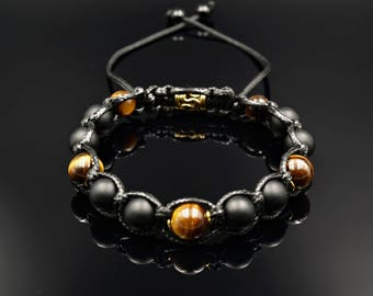 Men's Shamballa Bracelet Onyx Bracelet Gemstone Bracelet Gift for Men Beaded Bracelet Tiger's eye Bracelet Men's Jewelry  Men Bead Bracelet