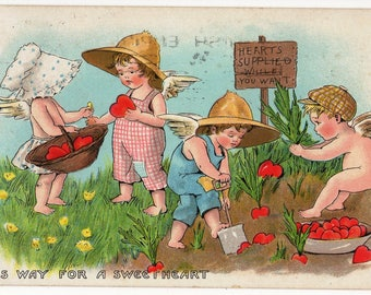 COMIC CUPIDS, Hearts Supplied While you Wait, Vintage Postcard,This Way for a Sweetheart,TUCKS No.33, 1924
