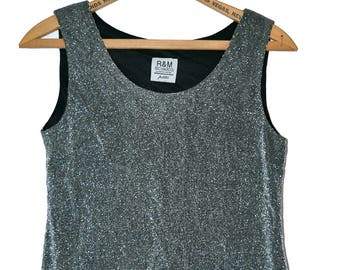 Vintage 80s Shiny Silver Grid Sleeveless Top - Size M