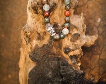Bloodstone Buda Charm Natural Gemstone 8mm Bracelet