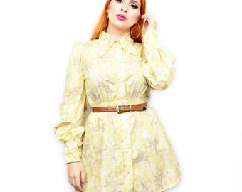 True Vintage 60s Mini Shirt Dress in Yellow Size Small/Medium Mod GoGo Style Brown Beige Floral