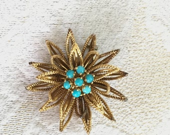 Vintage 18K Gold Open Turquoise Floral Brooch Pin - Italy