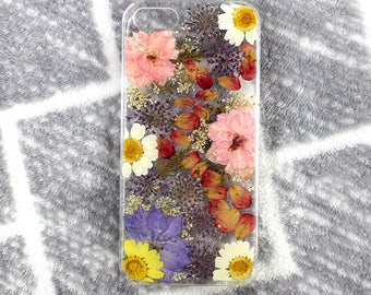 Skin cover case for Iphone 5 5s SE 6 6s plus 7 8 X with Natural real flowers presssed flower dried daisy flowers floral cases Clear hard