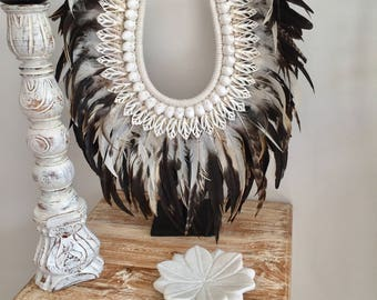 Tribal Feather & Shell Necklace on stand