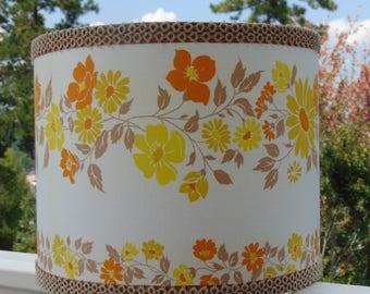 Drum Lampshade - Vintage 1972 Elegante Fabric