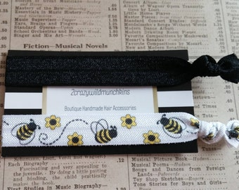Bumblebee Hair Ties, hair tie favors, bumble bee party favors, spring hair ties, cute hair, bee party favors