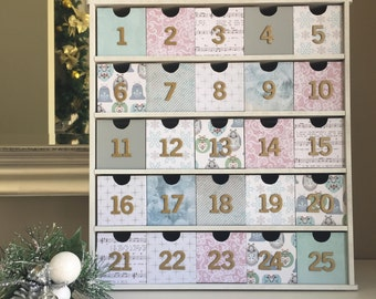 Christmas Advent Calendar Boxes Vintage Pastels