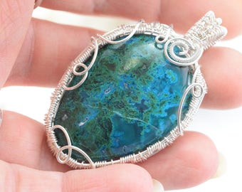 Chrysocolla with Malachite - Wire wrapped silver plated copper wire pendant