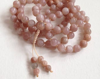 Peach Moonstone 108 Mala, Moonstone Yoga Necklace for Mantra and Meditation, 108 Japa Mala for Her, Hand Knotted