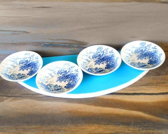 Set of 4 Dessert Bowl, Vintage English Blue and White Sauce Bowl,Wedgwood and Co Ltd, Countryside Fruit,Ice cream dish
