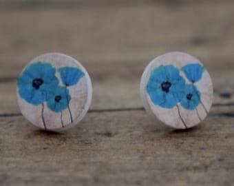 Wood Stud Earrings / Blue Poppies Wood Stud Earrings / Round Wood Stud Earrings