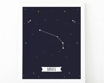 Aries Print, Aries constellation, Zodiac Constellation, zodiac Wall Art, Astrology Poster, Digital print, printable art, Nursery wall art