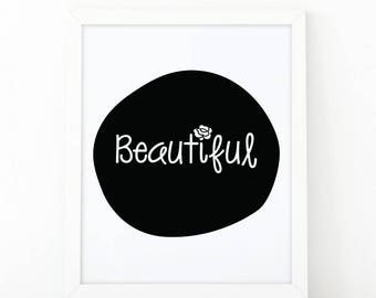 Beautiful, quote wall art, Flowers print, kids wall art, nursery decor, Printable art, scandinavian art, Girls room decor, Modern Nursery