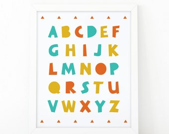 Alphabet colorful, Alphabet print, alphabet printable, ABC print, educational print, colorful print, ABC printable, abc wall art, mnimalist