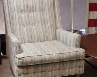 Mid Century Upholstered Chair, Tan Fleck