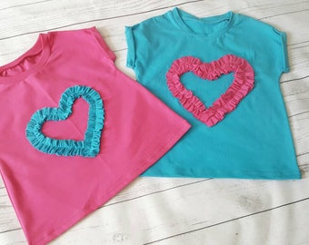 Girls heart t-shirt,organic cotton top, ruffled t-shirt, organic baby top, girls cotton t-shirt, gift for girl, heart applique top