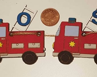 Wooden laser cut Fire Engine personalised bunting