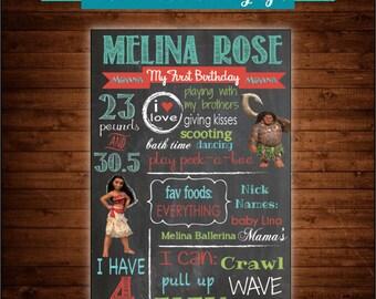 Moana Chalkboard Birthday Sign