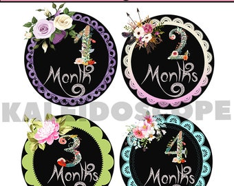 Floral Baby Month Stickers Baby Shower Monthly Baby Stickers Milestone Sticker Watercolor Flowers Moth Stickers Iron on INSTANT DOWNLOAD