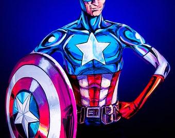 Captain America Bodypaint 8.5x11 Print