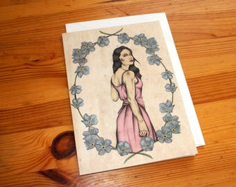 Fine Art Illustrated Blank Greeting Card - Lowbrow - Pop Surrealism - Pastel Goth Illustration