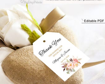 Thank You Tag, Floral Wedding Thank You Tags, Wedding Favor Tags, Gift Tags, #A008, Editable PDF - you personalize at home.