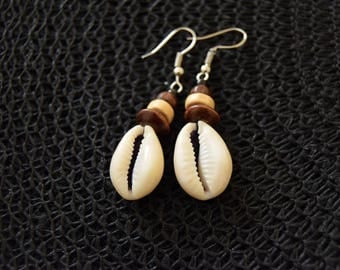 Cowry Shell Earrings | tribal, ethnic, boho jewelry | African cowrie shells, wooden & seed beads  | handmade in Cameroon, Africa