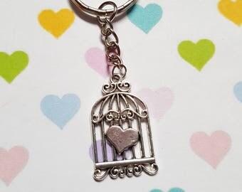 Birdcage keyring, Birdcage bag charm, Vintage style keyring, Vintage birdcage, Birdcage accessory, Birdcage, Heart, Quirky keyring