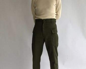Vintage 25 26 27 28 29 30 31 32 Waist Army High Waist Cargo Pants | Military 100% Cotton Utility Pant | Green Fatigue Trousers