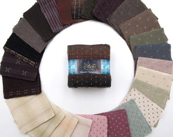 Taupe Precut fabric bundle (25 colors | 100 pieces | 7cm x 7cm | Yarn Dyed | 100% Cotton)