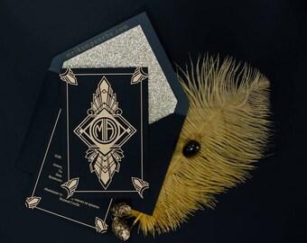 Black & Gold Great Gatsby Wedding Invitation Luxury Stylish Glamorous Geometric