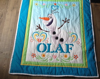 Olaf Hand Quilted Baby Quilt