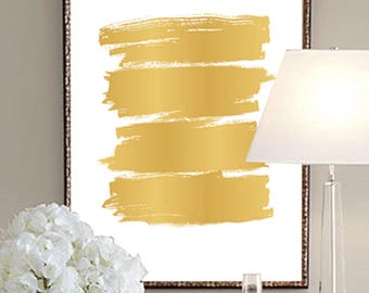 Abstract Print, Watercolour Wall Art, Modern Minimalist Painting, Gold, Brush Stroke, Printable Digital Download, Large Poster, Ink