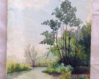 Original old watercolor landscape French on parchment paper river