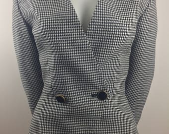 Vintage Kasper for A.S.L. Peplum Jacket with Black & White Houndstooth Design/Size 10