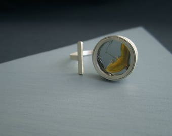 A little bit of recovery, double ring. Broken mirror repaired with Kintsugi set in recycled silver