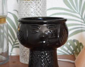 Vintage big bobbed flower pot black planter black DDR GDR planting pot