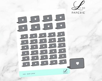 Heart Laptop Planner Stickers