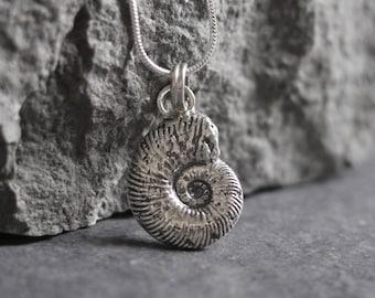 Silver Ammonite Fossil Pendant - Weymouth Ammonite - Real Ammonite - Dorset